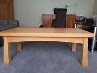 Chunky solid pine coffee table with tapered legs