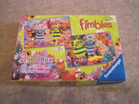 2 FIMBLES Jigsaw Puzzles FAB! (3+) 1x12 piece/ 1x24 COMPLETE +FREE FIMBLES BATH TOY + TOWEL +11DVDs