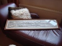Antique Framed Medieval Print very long length over a metre.