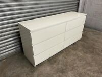 FREE DELIVERY IKEA MALM WHITE SIX DRAWER DRESSER CHEST WITH GOOD CONDITION