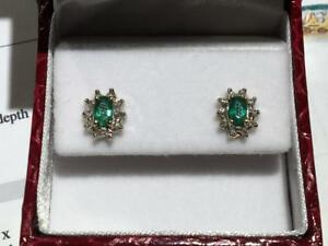 #3400 10K YELLOW GOLD EMERALD & DIAMOND BUTTERFLY BACK EARRINGS *JUST BACK FROM APPRAISAL AT $850.00!