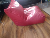 2x Red Leather Look Bean Chair