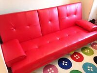 High Quality Leather Sofabed in RED! - perfect condition!