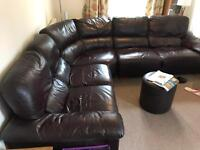 Leather Corner Sofa in Brown