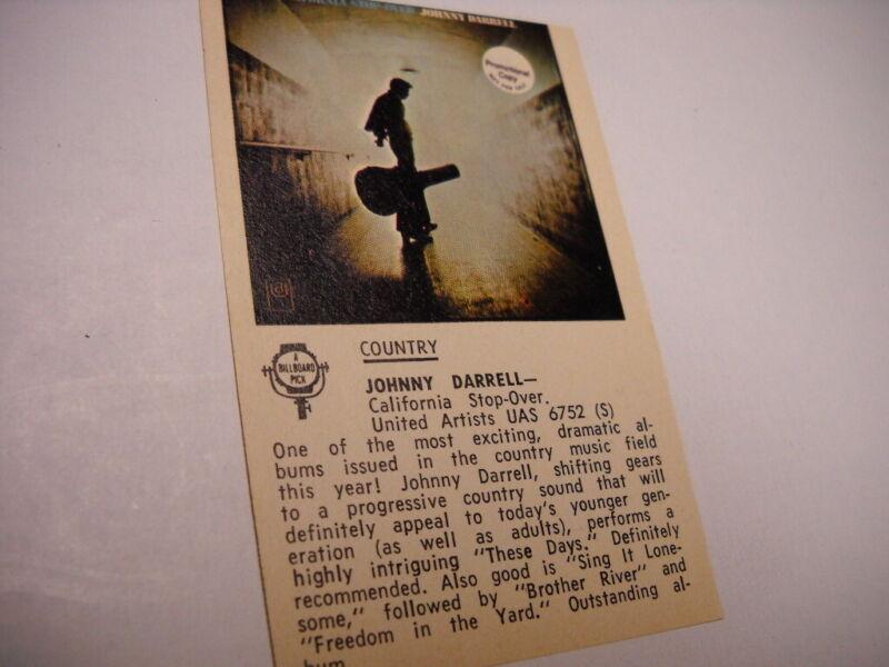 JOHNNY DARRELL original vintage promo album review CALIFORNIA STOP-OVER