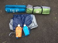 Camping Tent Kit formed by 2 tents, Inflatable bed and water bottles