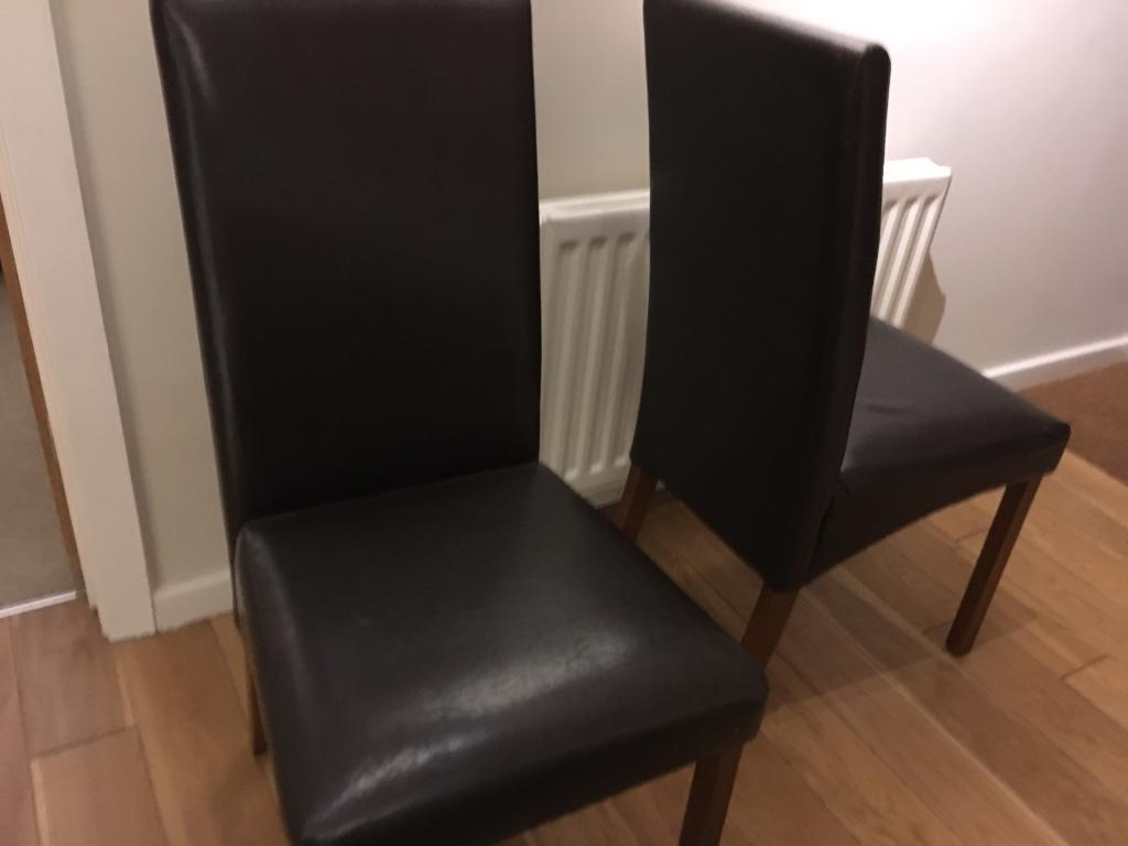Two Homebase Dark Brown Leather Dining Chairs