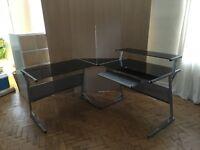Black glass and metal corner computer desk combination