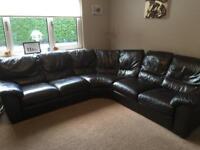 Large corner brown leather sofa