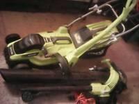 Ryobi set lawnmower strimer and blower vac
