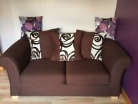 Sofa Bed , Double , Chocolate brown , With matching brown and cream connecting cushions
