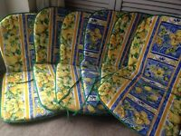 6 x REVERSIBLE MEDITERRANEAN PRINT GARDEN PATIO CHAIR SEAT PAD CUSHIONS NEW