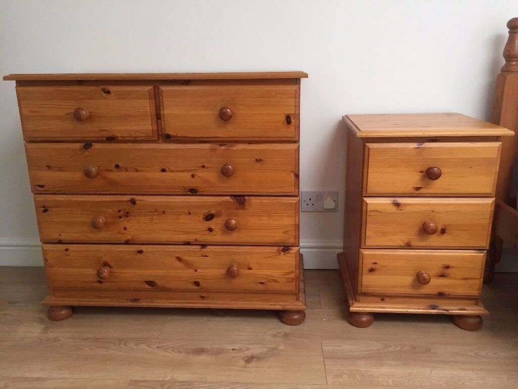 Pine Chest of Drawers and Side Tables