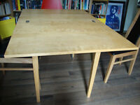 Table - Jussi Ikea - beech effect - folding table 124 x 62 x H72 - good conditions, only £15