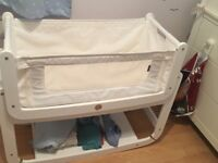 White SnuzPod² Crib- Comes With Mattress (unused) & Straps (Next to Me & Beside Me)