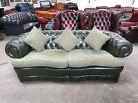 Stunning green leather chesterfield serpentine 3 seater sofa UK DELIVERY