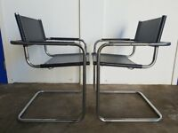 PAIR OF DESIGNER MART STAM CHAIRS MADE IN ITALY RETRO MID CENTURY CANTILEVER ARMCHAIR CAN DELIVER