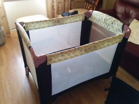 John Lewis, Winnie the Pooh Travel Cot with thick mattress and fitted sheet**STILL AVAILABLE 30/04**