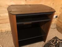 £80 solid walnut with tough black glass tv stand unit excellent condition