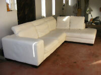 Leather Corner sofa with adjustable headrests and chaise longue