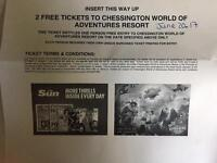 Pair chessington tickets 20 June 2017