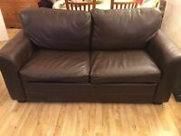Brown leather 2 seater, double sofa bed.