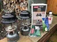2 Coleman duel fuel lanterns. & accessories