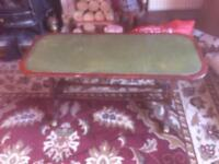 Vintage antique coffee table with leather top inlay