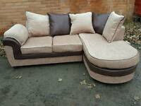 Superb BRAND NEW brown and beige fabric corner sofa .amazing design.boxed.can deliver