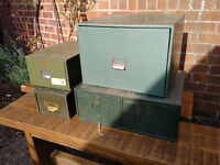 Vintage Retro Industrial Metal Filing Boxes Industrial Filing Cabinets