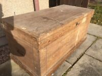ANTIQUE VICTORIAN LARGE WOODEN CHEST TRUNK c1860 WITH HANDLES DRAWERS INSIDE CAN DELIVER LOCALLY