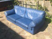 Lovely Roche Bobois Blue 3 Seater Designer Leather Sofa
