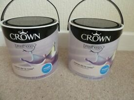 Crown Breatheasy Creme de la Rose, Matt emulsion, 2 x 2.5 tins new