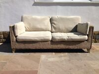 M&S Rattan with Cream Cushioned Sofa