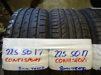MATCHING PAIRS 225 50 17 CONTISPORTS & BRIDGESTONES 8mm tread £70 pair SUPP & FITD £120 set of 4