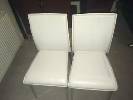x2 white dining table chairs
