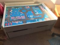 Kids play table with storage drawers
