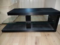 Contemporary black and glass TV and equipment stand