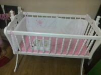 Baby crib, basinet, white with mattress