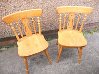 Pair of Hardwood Fiddleback Kitchen Chairs - Ideal to Paint
