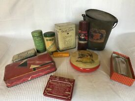 Tins, tins, tins, a box full of turn of 20th century tins of all shapes and sorts from France