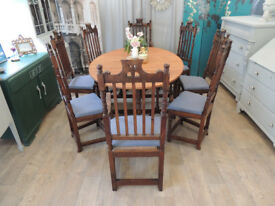 Victorian Gothic Jacobean Style Oak Dining Set with 8 Chairs