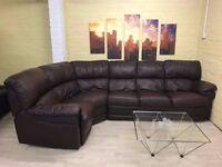 Stunning Brown Leather Corner Sofa