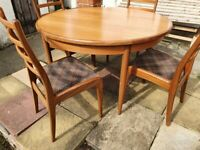 Vintage G plan, round extending dining table with 4 chairs
