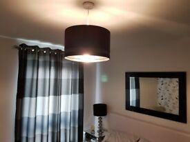 Room clearance-curtains, lamp, mirror, wall picture, ceiling shade
