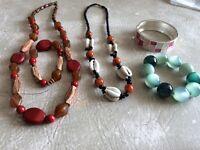 Costume jewellery, two necklaces, 3 bracelets