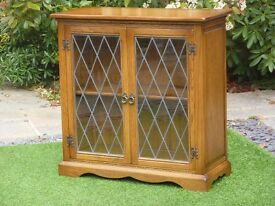 Solid oak glazed bookcase display cabinet