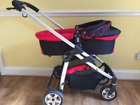 iCandy Cherry bassinet/carry cot and chassis, with basket