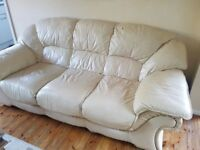 CREAM 3+2 SEATER LEATHER SOFAS - MUST GO ASAP - CHEAP FAST DELIVERY - £165