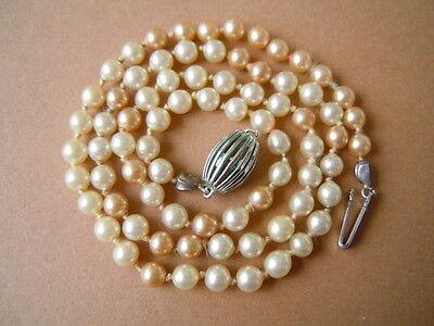 Zierliche alte echte Perlen Kette mit 835 Silber Verschluß 9,9 g / ca 42 cm